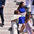 La princesse Stéphanie de Monaco, Pierre Casiraghi et Beatrice Borromeo - Baptême de Jacques et Gabriella en la cathédrale Notre-Dame-Immaculée de Monaco le 10 mai 2015O