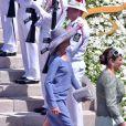 La princesse Caroline de Hanovre - Baptême de Jacques et Gabriella en la cathédrale Notre-Dame-Immaculée de Monaco le 10 mai 2015