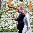 Albert II de Monaco et la princesse Charlene - Baptême de Jacques et Gabriella en la cathédrale Notre-Dame-Immaculée de Monaco le 10 mai 2015