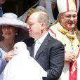 La princesse Caroline de Hanovre, le prince Albert II de Monaco avec la princesse Gabriella - Baptême de Jacques et Gabriella en la cathédrale Notre-Dame-Immaculée de Monaco le 10 mai 2015