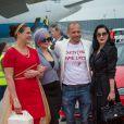 Kelly Osbourne, Gery Keszler, Dita von Teese - Arrivées des people à l'aéroport de Vienne pour le Life Ball 2015. Le 15 mai 2015