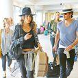 Les jeunes mariés Ian Somerhalder et Nikki Reed arrivent à l'aéroport de LAX à Los Angeles pour prendre l'avion pour Nice, le 19 mai 2015