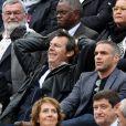 Jean-Luc Reichmann, sa femme Nathalie et Philippe Bas - People à Roland-Garros à Paris le 31 mai 2015.
