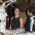 Le prince Carl Philip de Suède et sa fiancée Sofia Hellqvist - Dîner d'état donné par la famille royale de Suède en l'honneur du président de l'Inde au palais royal de Stockholm le 1er juin 2015
