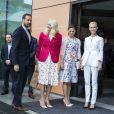 La princesse Victoria de Suède avec la princesse Mette-Marit et le prince Haakon de Norvège au Eat Forum à Stockholm le 1er juin 2015