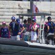 La princesse Victoria de Suède s'est invitée à bord pour encourager le Team SCA lors de la Volvo Ocean Race à Lisbonne le 5 juin 2015