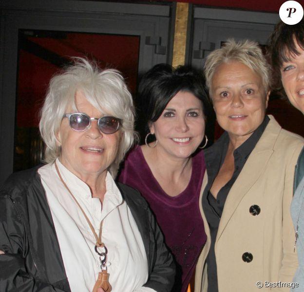 Exclusif - Catherine Lara, Liane Foly, Muriel Robin et Anne Le Nen, lors du 70e anniversaire de Catherine Lara au Fouquet's à Paris le 30 mai 2015.