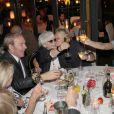 Exclusif - Sophie Davant, Tony Gomez, Catherine Lara, Muriel Robin et Anne Le Nen, lors du 70e anniversaire de Catherine Lara au Fouquet's à Paris le 30 mai 2015.