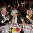 Exclusif - Tony Gomez, Catherine Lara, Muriel Robin et Anne Le Nen, lors du 70e anniversaire de Catherine Lara au Fouquet's à Paris le 30 mai 2015.