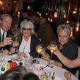 Exclusif - Sophie Davant, Tony Gomez, Catherine Lara et Muriel Robin, lors du 70e anniversaire de Catherine Lara au Fouquet's à Paris le 30 mai 2015.