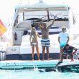Sylvie Van der Vaart avec son nouvel amoureux Maurice Mobetie à Formentera (Espagne) le 12 juin 2015.