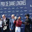 Bertrand Belinguier, Aishwarya Rai, Walter von Kaenel - Prix de Diane Longines à l'hippodrome de Chantilly le 14 juin 2015.