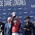 Bertrand Belinguier, Lanfranco Dettori et Aishwarya Rai - Prix de Diane Longines à l'hippodrome de Chantilly le 14 juin 2015.