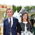 Philippe Douste-Blazy et sa femme Marie-Yvonne - Prix de Diane Longines à l'hippodrome de Chantilly le 14 juin 2015.