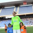 Jamel Debbouze, Brahim Takioullah et Nawell Madani lors du Charity Football Game au Grand Stade de Marrakech, le 14 juin 2015