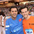 Jamel Debbouze et Michaël Gregorio lors du Charity Football Game au Grand Stade de Marrakech, le 14 juin 2015
