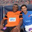 Marcel Desailly et Jamel Debbouze lors du Charity Football Game au Grand Stade de Marrakech, le 14 juin 2015