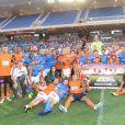 Les participants au Charity Football Game au Grand Stade de Marrakech, le 14 juin 2015