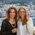 Stefanie Powers et Lindsay Wagner - Réception chez le ministre d'état Michel Roger, lors du 55e festival de télévision de Monte-Carlo à Monaco. Le 15 juin 2015.