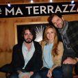 Eric Metzger, Quentin Margot et Alison Wheeler, lors de l'ouverture de la Terrazza Martini, à Paris, le 18 juin 2015.