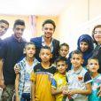 """"""" Le prince Hussein Ben Abdullah en visite dans un orphelinat à Zarqa, au nord-est d'Amman, le 28 juin 2015 en Jordanie. """""""