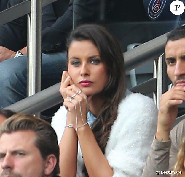 Malika Ménard, au Parc des Princes, le samedi 25 octobre 2014 pour le match de Ligue 1 PSG-Bordeaux (3-0).