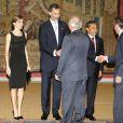 Le roi Felipe VI et la reine Letizia d'Espagne donnaient le 8 juillet 2015 au palais du Pardo, à Madrid, une réception marquant la fin de la visite d'Etat du président du Pérou Ollanta Humala et de sa femme Nadine Heredia Alarcon.