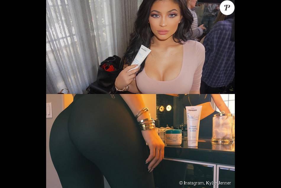 Kylie Jenner dévoile le secret derrière ses jolies formes. Pas d'opération de chirurgie esthétique : la bombe de 17 ans applique une crème miracle ! Photo publiée le 30 juillet 2015.