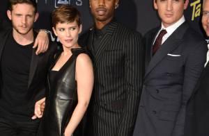 Kate Mara : Coupe garçonne et robe en cuir face à Miles Teller et sa chérie sexy