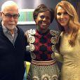 Céline Dion et René Angélil avec la journaliste Deborah Roberts pour Good Morning America. Mars 2015