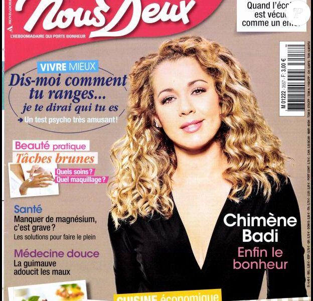 Chimène Badi en couverture de Nous Deux, en kiosques le 1er septembre 2015