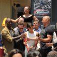Tyrese Gibson, Michelle Rodriguez et Vin Diesel au lancement de l'attraction Fast & Furious - Supercharge à Universal Studios, Los Angeles, le 23 juin 2015