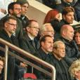 Philippe Labro et Sébastien Cauet, Robin Leproux et Christophe Galtier lors du match de Ligue des Champions entre le PSG et Malmö au Parc des Princes à Paris le 15 septembre 2015