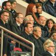 Philippe Labro et Sébastien Cauet, Christophe Galtier et Robin Leproux lors du match de Ligue des Champions entre le PSG et Malmö au Parc des Princes à Paris le 15 septembre 2015