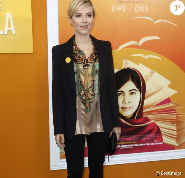 """Scarlett Johansson - Première de """"He named me Malala"""" à New York, le 24 septembre 2015."""