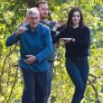 """Robert De Niro et Anne Hathaway sont en pleine séance de tai chi sur le tournage du film """"Le Nouveau Stagiaire"""" dans le quartier de Brooklyn à New York, le 18 septembre 2014"""