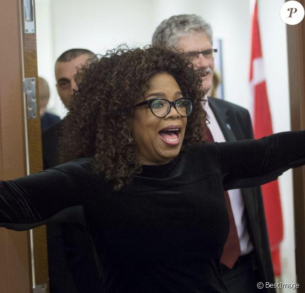 Oprah Winfrey - Mogens Lykketoft , l'homme politique danois, membre du Parti social-démocrate qu'il a présidé de 2002 à 2005, rencontre Oprah Winfrey à New York, le 15 octobre 2015