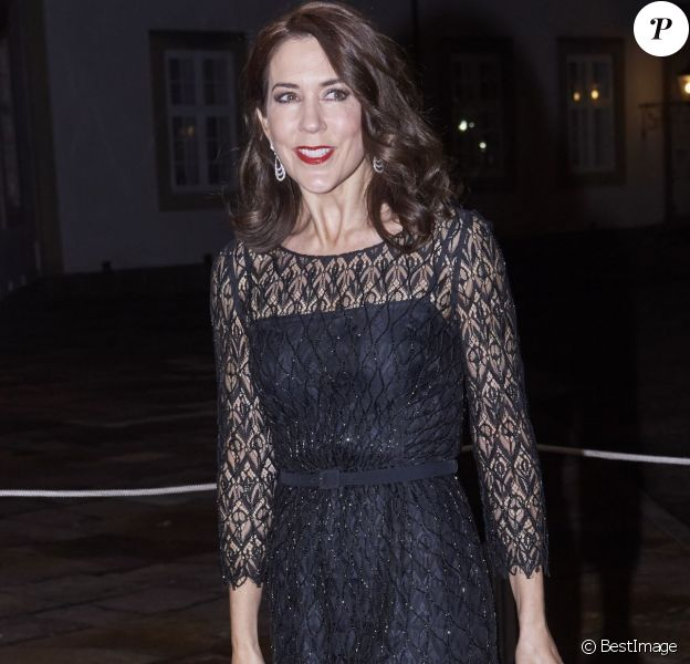 La princesse Mary de Danemark arrive à un concert et à un dîner en l'honneur du secteur du tourisme au palais de Fredensborg, le 10 novembre 2015.