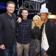 Blake Shelton, Adam Levine, Christina Aguilera et Pharrell Williams sur le plateau de l'émission The Voice US / photo postée sur Instagram.