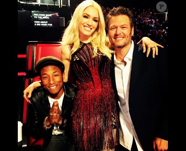 Pharrell Williams, Gwen Stefani et Blake Shelton sur le plateau de l'émission The Voice US / photo postée sur Instagram.