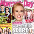 Le magazine Woman's Day avec en couverture Nicole Kidman et une photo du mariage secret de sa fille, Isabella. (octobre 2015)