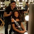 Flora Coquerel : séance de maquillage pour Miss Univers 2015 à Las Vegas