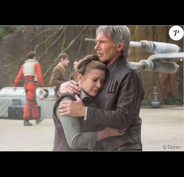 Carrie Fisher et Harrison Ford dans Star Wars - Le Réveil de la Force.