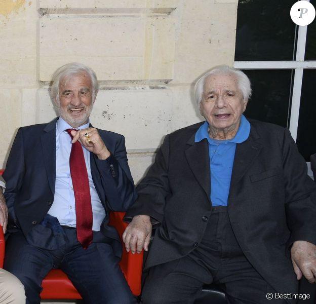 Guy Bedos, Daniel Russo, Jean-Pierre Marielle, Jean-Paul Belmondo et Michel Galabru - Soirée du cinquième anniversaire du musée Paul Belmondo à Boulogne-Billancourt le 13 avril 2015.