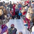 Le prince Haakon et sa fille la princesse Ingrid Alexandra - La famille royale de Norvège participe aux activités de sports d'hiver organisées devant le palais royal lors des festivités pour le 25ème anniversaire de règne du roi Harald de Norvège à Oslo, le 17 janvier 2016. 17/01/2016 - Oslo