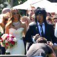 Le bassiste du groupe Mötley Crüe Nikki Sixx (Frank Carlton Ferrana) épouse Courtney Bingham lors d'une cérémonie intime au Grey Stone à Beverly Hills, le 15 mars 2014.
