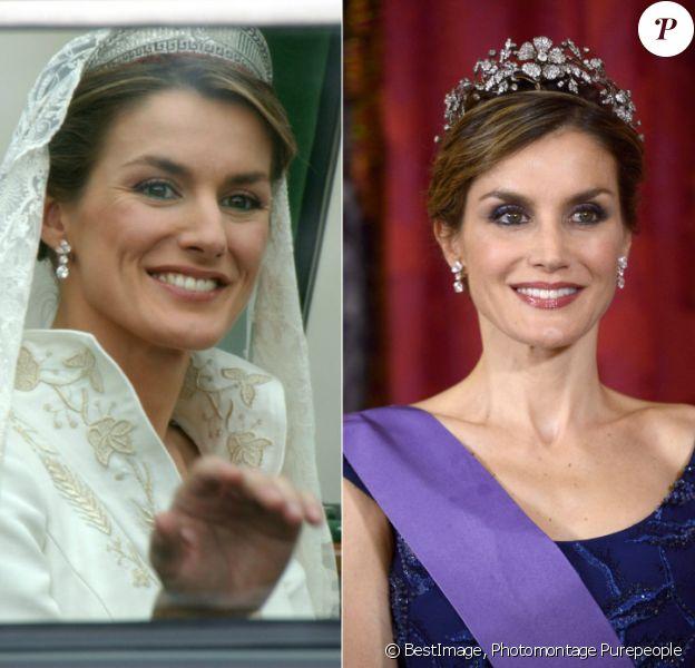Letizia d'Espagne en 2004 lors de son mariage avec Felipe, en 2015 lors du dîner d'Etat offert en l'honneur du président péruvien, en visite officielle. Onze ans après, pas une ride...