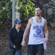 La comédienne Lea Michele et son petit ami Matthew Paetz font leur séance de sport dans un parc, à Los Angeles, le 22 novembre 2014.