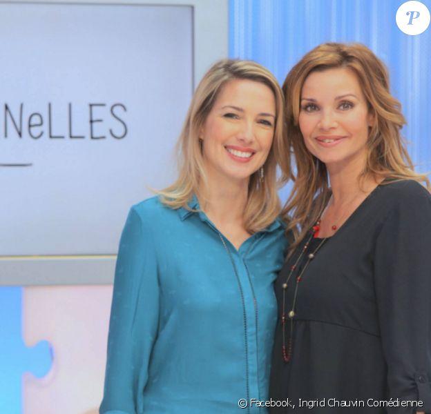 """Ingrid Chauvin aux côtés de Sidonie Bonnec lors de l'enregistrement de l'émission """"Les Maternelles"""" sur France 5. Février 2016."""