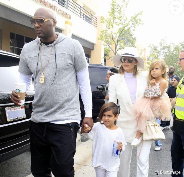 Lamar Odom et sa femme Khloé Kardashian arrivent à l'église de Agoura Hills pour la messe de Pâques à Hagoura Hills le 27 Mars 2016.